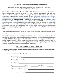 """Notice of Public School Employer Lockout"" - Michigan"
