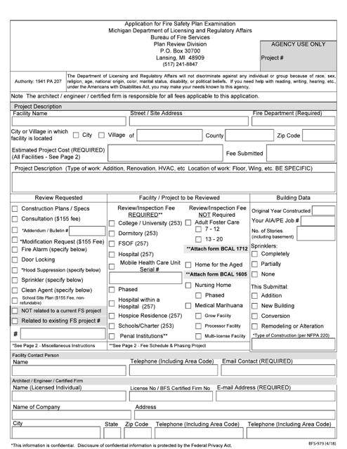 Form BFS-979  Printable Pdf