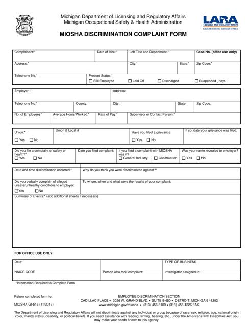 Form MIOSHA-GI-516  Printable Pdf
