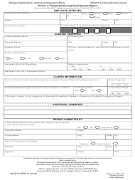 "Form MIOSHA-MTSD-51 ""Known or Suspected Occupational Disease Report"" - Michigan"