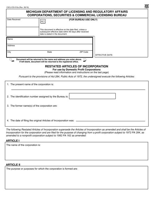 Form CSCL/CD-510A  Printable Pdf
