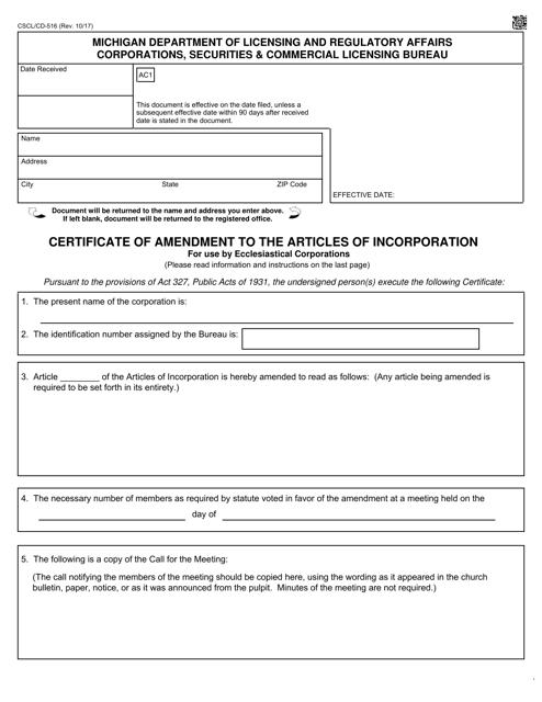 Form CSCL/CD-516 Printable Pdf