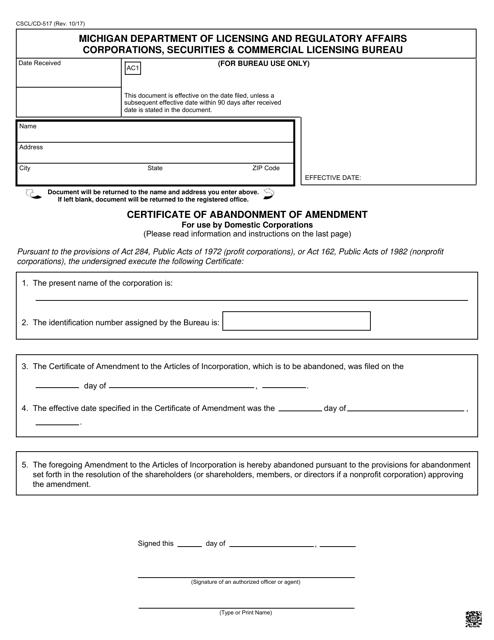 Form CSCL/CD-517  Printable Pdf