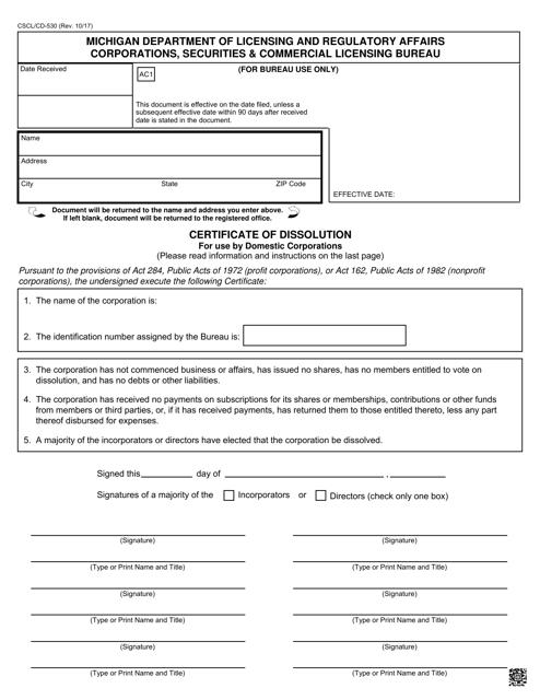 Form CSCL/CD-530  Printable Pdf