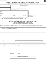 "Form CSCL/CD-545 ""Application for Registration of Corporate Name for Use by Foreign Profit Corporations"" - Michigan"