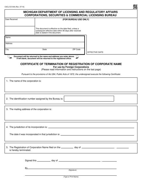 Form CSCL/CD-546  Printable Pdf