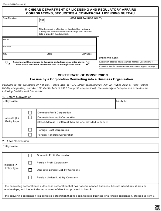 Form CSCL/CD-554 Download Fillable PDF, Certificate of Conversion