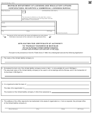 "Form CSCL/CD-760 ""Application for Certificate of Authority to Transact Business in Michigan for Use by Foreign Limited Liability Companies"" - Michigan"