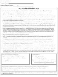 "Form CSCL/CD-760 ""Application for Certificate of Authority to Transact Business in Michigan for Use by Foreign Limited Liability Companies"" - Michigan, Page 3"