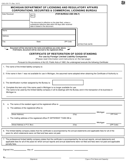 Form CSCL/CD-771  Printable Pdf
