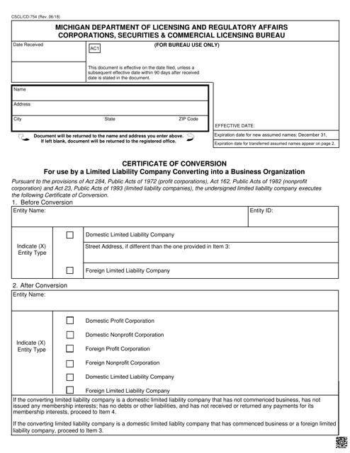 Form CSCL/CD-754  Printable Pdf