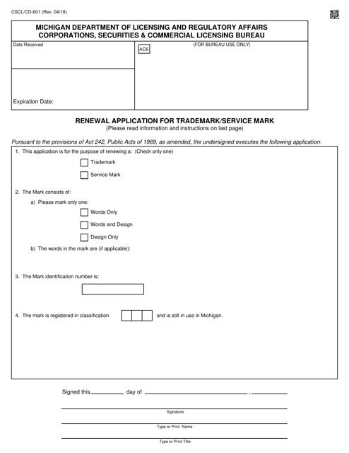 Form CSCL/CD-601  Printable Pdf