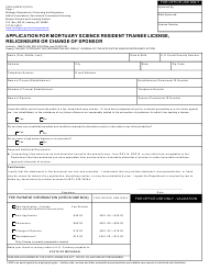 "Form CSCL/LMS-010 ""Application for Mortuary Science Resident Trainee License,relicensure or Change of Sponsor"" - Michigan"