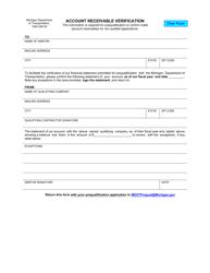 "Form 1309 ""Account Receivable Verification"" - Michigan"