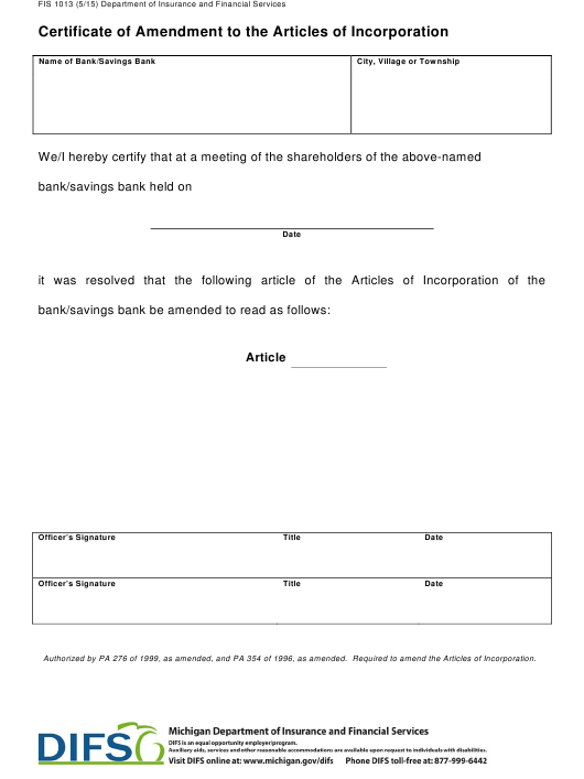 Form FIS1013 Printable Pdf