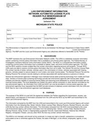 "Form CJIS-017 ""Law Enforcement Information Network Automated License Plate Reader File Memorandum of Agreement"" - Michigan"