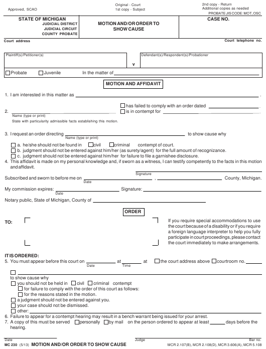 Form MC 230 Fillable Pdf
