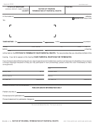 Form PCA 303 Notice of Hearing, Termination of Parental Rights - Michigan