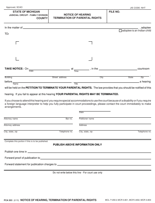 Form Pca303 Download Fillable Pdf Or Fill Online Notice Of
