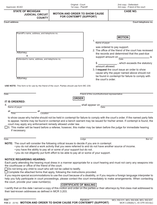 Form FOC 2 Download Fillable PDF, Motion and Order to Show