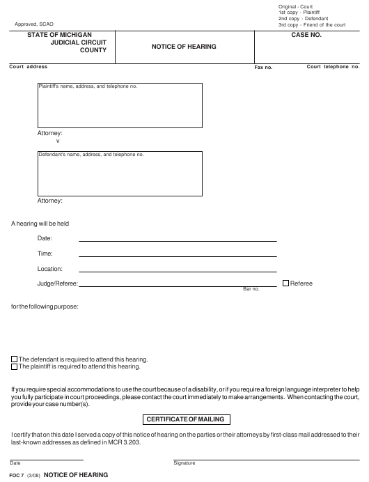 Form FOC 7 Download Fillable PDF, Notice of Hearing