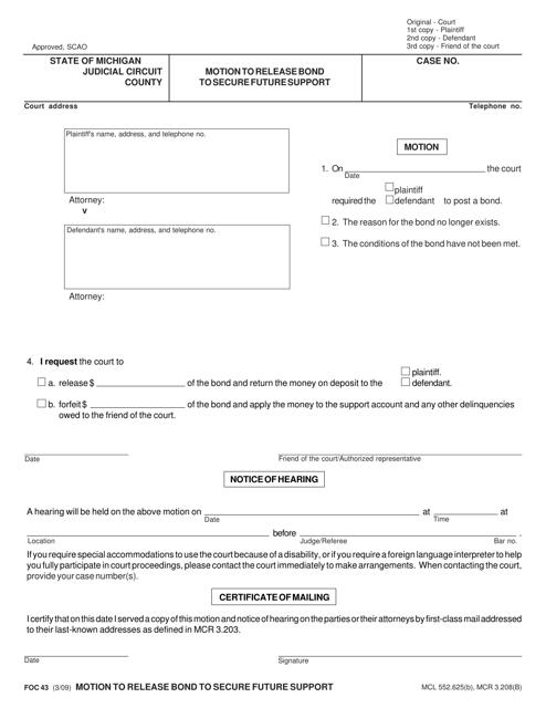Form FOC43  Printable Pdf