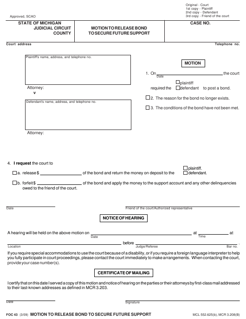 Form FOC 43 Fillable Pdf