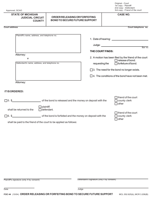 Form FOC 44 Fillable Pdf