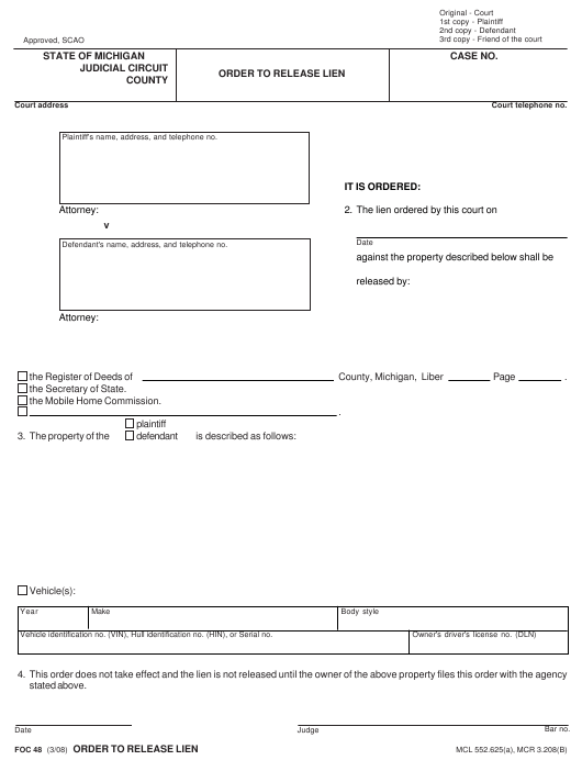 Form FOC 48 Fillable Pdf