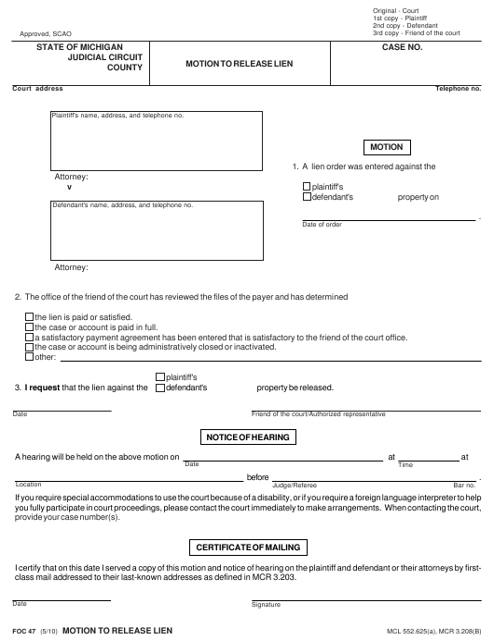 Form FOC 47 Fillable Pdf