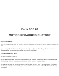 """Form FOC87 """"Motion Regarding Custody"""" - Michigan"""