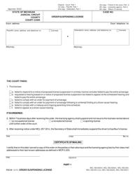 """Form FOC84 """"Order Suspending License"""" - Michigan"""