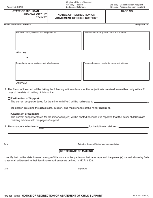 Form FOC 106 Fillable Pdf