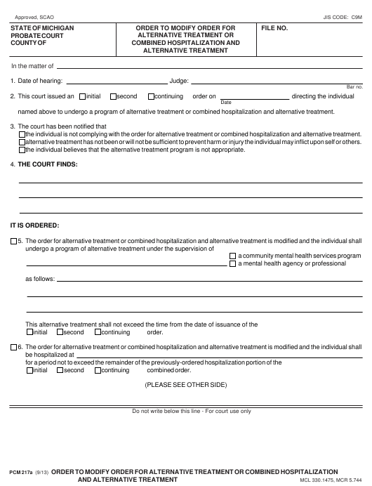 Form PCM 217A Fillable Pdf