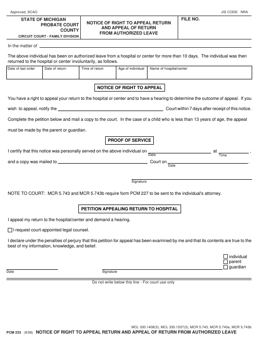 Form PCM233 Printable Pdf