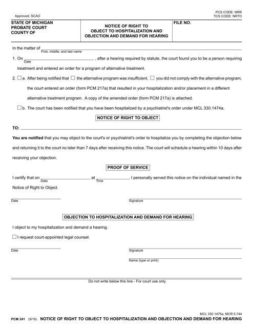 Form PCM241 Printable Pdf