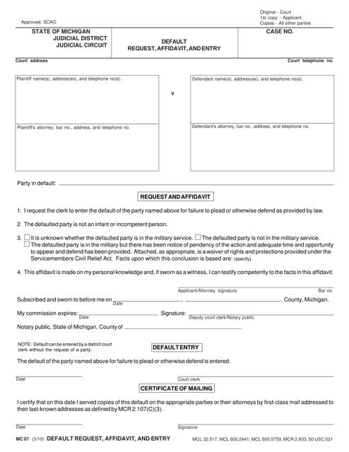 Form MC 07 Download Fillable PDF, Default Request, Affidavit