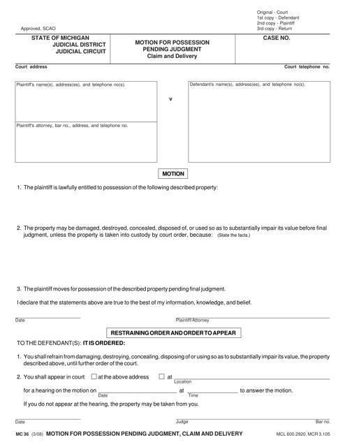 Form MC 36 Fillable Pdf