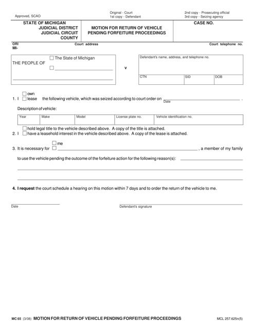 Form MC 65 Fillable Pdf