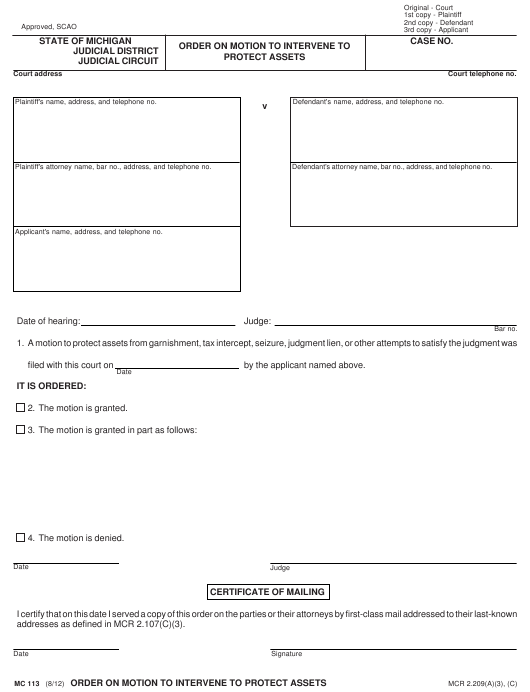 Form MC 113 Download Fillable PDF, Order on Motion to