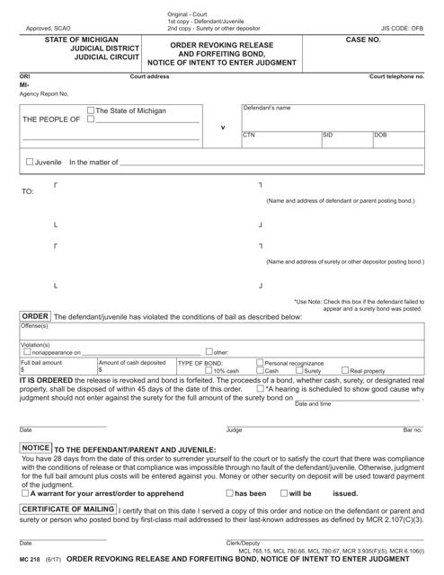 Form MC218  Printable Pdf
