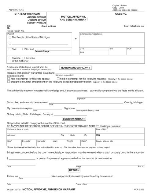 Form MC 229 Fillable Pdf