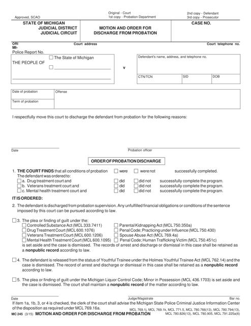 Form MC 245 Fillable Pdf