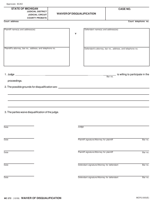 Form MC 272 Download Fillable PDF, Waiver of