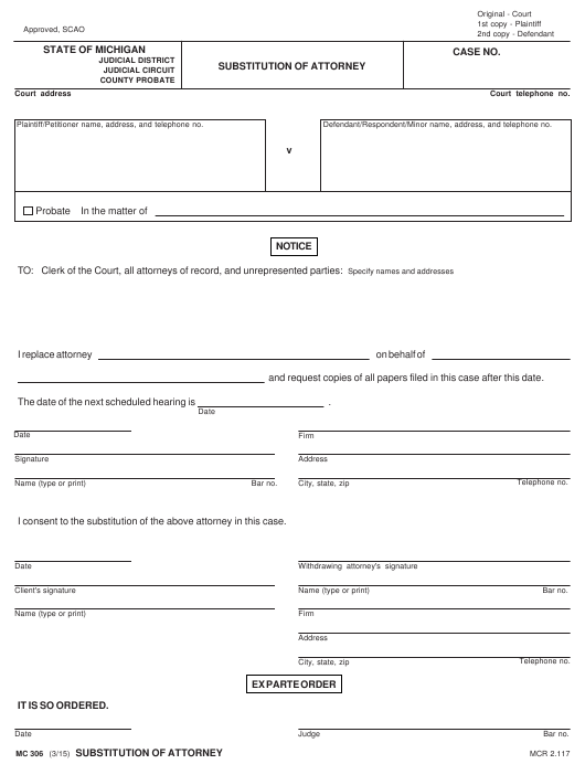 Form MC 306 Download Fillable PDF, Substitution of Attorney