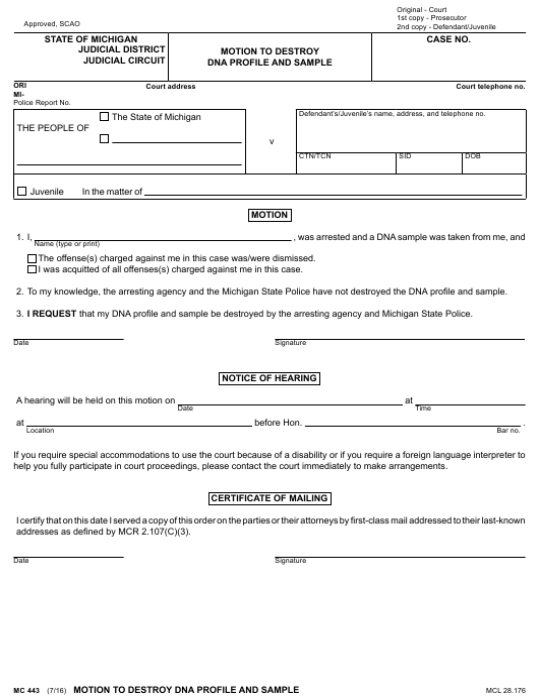 Form MC443  Printable Pdf