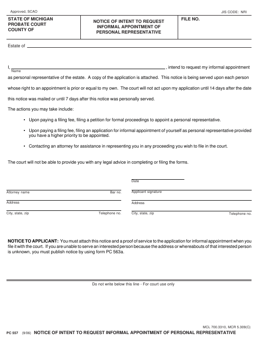 Form PC 557 Fillable Pdf