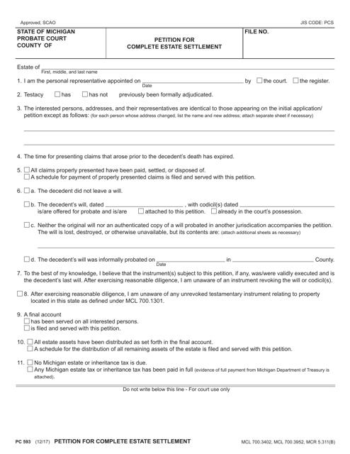 Form PC593  Printable Pdf