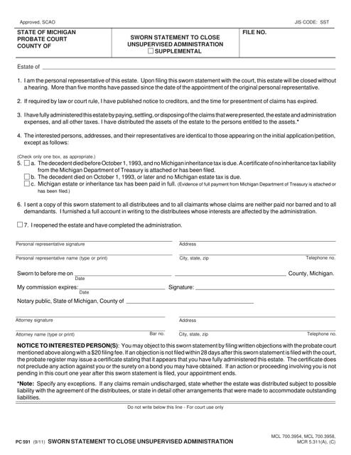 Form PC591  Printable Pdf