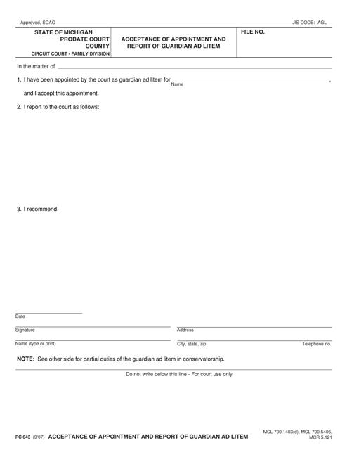 Form PC 643 Fillable Pdf